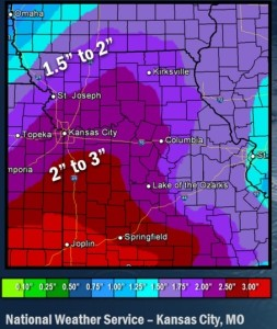 This weather graphic from the National Weather Service shows projected rainfall totals for Thanksgiving in much of Missouri.