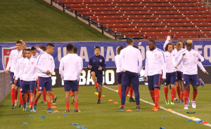 The U.S. Men's National Soccer team stretch before a practice under the lights at Busch Stadium in St. Louis on Novembr 12, 2015. The U.S. will play St. Vincent And The Grenadines, in a FIFA World Cup Qualifier match on November 13, 2015. Photo by Bill Greenblatt/UPI