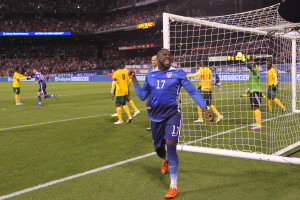 U.S.A.'s Jozy Altidore celebrates after heading the ball into the goal in the first half against St. Vincent and the Grenadines at Busch Stadium in St. Louis on November 13, 2015.   Photo by Bill Greenblatt/UPI