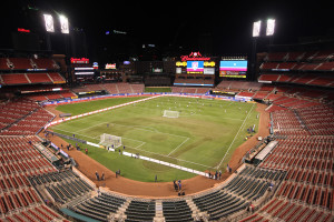 The U.S. Men's National Soccer team practices under the lights at Busch Stadium in St. Louis on Novembr 12, 2015. The U.S. will play St. Vincent And The Grenadines, in a FIFA World Cup Qualifier match on November 13, 2015. Photo by Bill Greenblatt/UPI