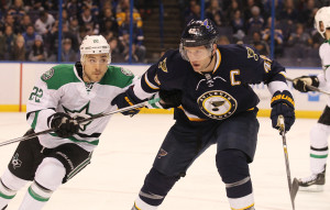 St. Louis Blues David Backes tries to push Dallas Stars Colton Sceviourin off of the play in the first period at the Scottrade Center in St. Louis on December 26, 2015. Photo by Bill Greenblatt/UPI