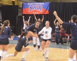 The Columbia Cougars celebrate their NAIA national championship (photo/columbiacougars.com)