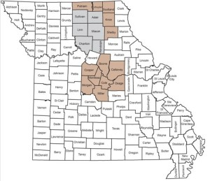 CWD containment zones have been set up in the first three counties from which deer tested positive for chronic wasting disease, and 16 counties around them.  Franklin County and those around it could soon be part of a similar zone.  (image courtesy; Missouri Department of Conservation)