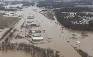 Major portions of Interstate Highway 44 in Valley Park, Missouri remain closed as flood waters from the Meramec River cover it for miles during historic flooding on December 31, 2015. Flooding statewide from three straight days of rain has caused evaucations, road closures and fourteen deaths.    Photo by Bill Greenblatt/UPI