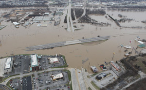 Interstate Highway 44 remains closed in Valley Park, Missouri after the Meramec River reaches new heights during near historic flooding on December 31, 2015. Flooding statewide from three straight days of rain has caused evaucations, road closures and fourteen deaths.    Photo by Bill Greenblatt/UPI