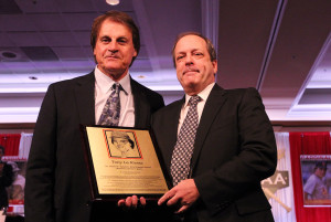 St. Louis Post Dispatch sports columnist Joe Strauss, pictured at the Baseball Writers dinner presenting former St. Louis Cardinals manager Tony La Russa an award on January 19, 2014 in St. Louis, has died at the age of 54 from complications related to leukemia on December 27, 2015. Strauss came to the Post Dispatch in 2012. Photo by Bill Greenblatt/UPI