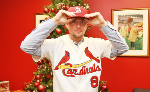 St. Louis Cardinals new pitcher Mike Leake tries on his new uniform after being introduced at Busch Stadium in St. Louis on December 22, 2015.  Photo by Bill Greenblatt/UPI