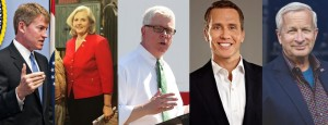 Missouri's 2016 candidates for governor: Chris Koster (D), Catherine Hanaway (R), Peter Kinder (R), Eric Greitens (R), and John Brunner (R)