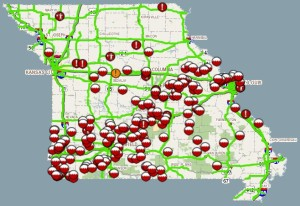 The Missouri Department of Transportation's Traveler Information Map reports 351 road closures related to flooding as of Sunday afternoon.  Find a link to the map, and its apps on iPhone and Android, with the story.