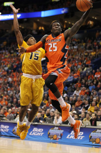 Illinois Illini Kendrick Nunn goes in for the layup past Missouri Tigers Wes Clark in the first half of the Annual Braggin Rights basketball game at Scottrade Center in St. Louis on December 23, 2015. Photo by Bill Greenblatt/UPI