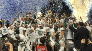 Northwest Missouri State celebrates their fifth national title (photo/Ian Echlin)