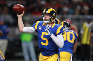 St. Louis Rams quarterback Nick Foles throws the football in the third quarter against the Arizona Cardinals at the Edward Jones Dome in St. Louis on December 6, 2015. Arizona defeated St. Louis 27-3.    Photo by Bill Greenblatt/UPI