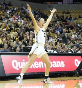 Sophie Cunningham signals a three (photo/Mizzou Athletics)