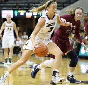 Sophie Cunningham drives around a Loyola-Marymount player (photo/Mizzou Athletics)