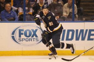 St. Louis Blues Vladimir Tarasenko of Russia looks to pass the puck in the first period against the Calgary Flames at the Scottrade Center in St. Louis on December 19, 2015. St. Louis defeated Calgary 3-2. Photo by Bill Greenblatt/UPI