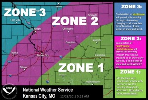 This graphic from the National Weather Service shows how wintry precipitation in northwest Missouri is expected to break down by location.