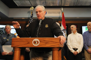 Missouri Governor Jay Nixon gives an update on the flooding situation in the state after consulting with hydrologists at the National Weather Service in Weldon Spring, Missouri on December 29, 2015. Twelve people have died in flooding that may equal or surpass the Great Flood of 1993. Over 100 roads have been closed to to water over the roadways. Photo by Bill Greenblatt/UPI