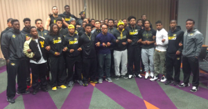 Several Missouri football players stand together during a protest in early November (file photo)