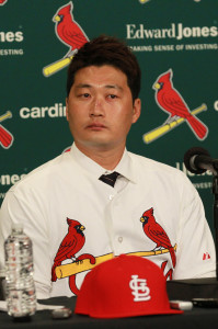 St. Louis Cardinals new Korean pitcher Seung Hwan Oh listens during a press conference at Busch Stadium in St. Louis on January 11, 2016.Oh, 33 has 357 career saves between Korea and Japan and earned Rookie of the Year honors in 2005. He was named MVP of the Korean Series in 2011 and reached 100 career saves faster than anyone in Korean history.  Photo by Bill Greenblatt/UPI