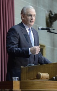 Governor Jay Nixon delivers his final State of the State Address.  (photo courtesy; Tim Bommel, Missouri House Communications)