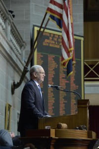 Governor Jay Nixon delivers his 2016 State of the State Address.  (photo courtesy; Tim Bommel, Missouri House Communications)