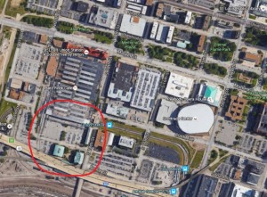 The designs for a new MLS stadium would occupy a current parking lot and be built just two blocks west of Scottrade Center where the Blues play (Google Maps)
