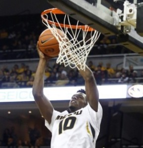 KJ Walton pulls down a rebound against Ark-Pine Bluff (photo/Mizzou Athletics)