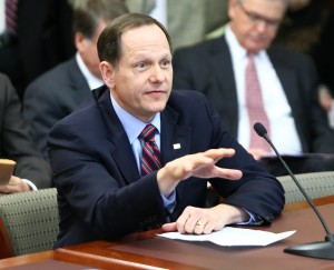 St. Louis Mayor Francis Slay testifies to a Missouri Senate Committee that eliminating the one-percent earnings tax in his city would devastate public services.  (Photo courtesy; Harrison Sweazea, Missouri Senate Communications)