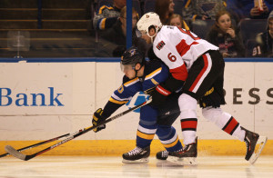 Ottawa Senators Bobby Ryan crowds St. louis Blues Alexander Steen off of the puck in the first period at the Scottrade Center in St. Louis on January 4, 2016. Ryan scored the game winner in overtime to defeat St. Louis 3-2.  Photo by Bill Greenblatt/UPI