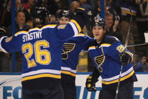 St. Louis Blues Alexander Steen (R) celebrates his first period goal with teammates against the Pittsburgh Penguins at the Scottrade Center in St. Louis on January 18, 2016. Photo by Bill Greenblatt/UPI