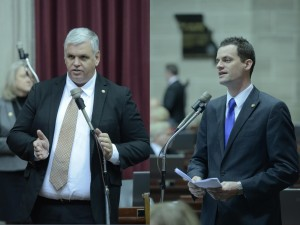 Representative Tony Dugger (left) sponsors the proposed constitutional change to allow voter photo ID, and Representative Justin Alferman sponsors the change in Missouri statute to create a framework for it.  (photos courtesy; Tim Bommel, Missouri House Communications)