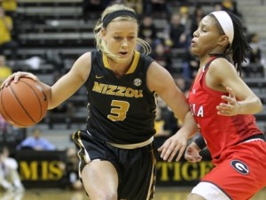 Sophie Cunningham pushes around a Georgia defender (photo/Mizzou Athletics)