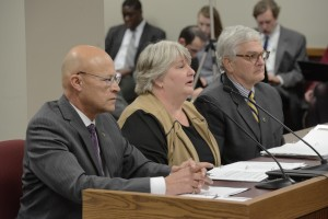 University of Missouri Interim President Mike Middleton, Interim Chair of the Board of Curators Pamela Henrickson, and Interim Chancellor Hank Foley testify to a House-Senate Joint Committee on Education.  (photo courtesy; Tim Bommel, Missouri House Communications)