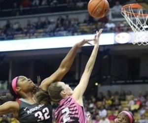Morgan Stock goes for a layup (photo/Mizzou Athletics)