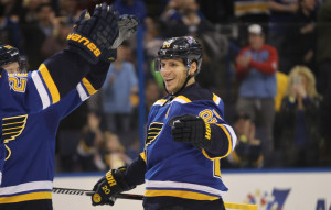 St. Louis Blues Alexander Steen prepares to be congratulated on his assist on a goal against the Colorado Avalanche in the first period at the Scottrade Center in St. Louis on March 29, 2016. Steen is playing in his first game since suffering an upper body injury on February 20.  Photo by Bill Greenblatt/UPI