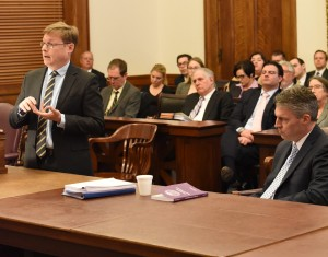 The attorney for Progress Missouri, Christopher Grant (left) presents its arguments to the Missouri Supreme Court as Deputy State Solicitor Jeremiah Morgan (right) watches.  (photo courtesy; Catherine Rice)