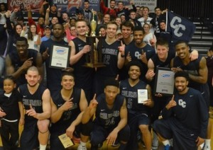 The Columbia College Cougars celebrate their AMC championship (photo/columbiacougars.com)