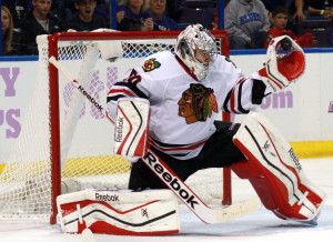 The defending Stanley Cup champs could start the playoffs without their top goalie.  That would work out well for the Blues. UPI/Rob Cornforth