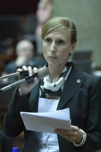 Representative Holly Rehder sponsored the paycheck legislation in the House. (photo courtesy; Tim Bommel, Missouri House Communications)