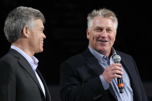 Former St. Louis Blues and Hockey Hall of Fame member Brett Hull (R) announces to the crowd that the Chicago Blackhawks and St. Louis Blues will play a hockey game at Busch Stadium in 2017 as Blues Chairman Tom Stillman listens in before the start of the Blackhawks-Blues hockey game at the Scottrade Center in St. Louis on March 9, 2016. Photo by Bill Greenblatt/UPI