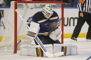 St. Louis Blues goaltender Jake Allen bobbles a puck after a shot on goal by the Chicago Blackhawks in the second period at the Scottrade Center in St. Louis on March 9, 2016.  Photo by Bill Greenblatt/UPI