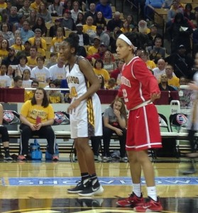 Jordan Sanders (left) is guarded by Jordan Roundtree