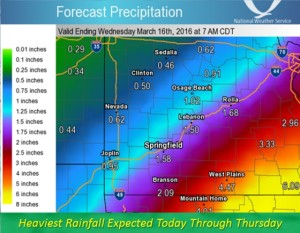This graphic from the National Weather Services shows its predicted maximum rainfall totals through the end of the week in a portion of southwest Missouri.