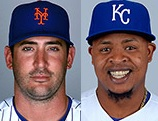 Matt Harvey and Edinson Volquez square off in Game 1 (photos/MLB)
