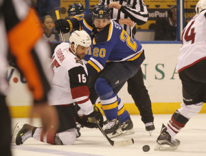 Arizona Coyotes Boyd Gordon and St. Louis Blues Alexander Steen battle for the faceoff in the first period at the Scottrade Center in St. Louis on April 4, 2016.  Photo by Bill Greenblatt/UPI