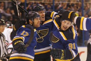 St. Louis Blues Jori Lehtera (C) is congratulated by teammates after scoring a goal against the Chicago Blackhawks in the first period at the Scottrade Center in St. Louis on April 25, 2016. Photo by Bill Greenblatt/UPI