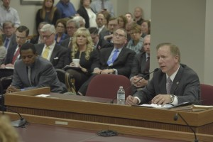 Senator Bob Onder presents SJR 39, dealing with protections for religious objectors to same-sex marriage, to a House Committee. (photo courtesy; Tim Bommel, Missouri House Communications)