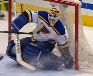 Brian Elliott makes one of his 40 saves.