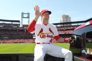 St. Louis Cardinals Jeremy Hazelbaker waves to the crowd as he is introduced on Opening Day before a game against the Milwaukee Brewers at Busch Stadium in St. Louis on April 11, 2016.   Photo by Bill Greenblatt/UPI