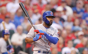 Chicago Cubs Jason Heyward watches a ball go foul in the first inning against the St. Louis Cardinals at Busch Stadium in St. Louis on April 18, 2016.  Photo by Bill Greenblatt/UPI